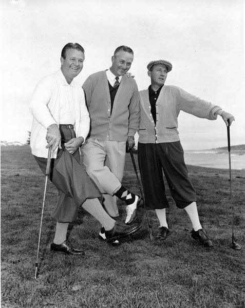 6. Jimmy Demaret                       Demaret, left, with his good friend Bing Crosby, right, and John Geertsen. Demaret won 31 tournaments, including three Masters ('40, '47 and '50), and posted a 5-0 record in three Ryder Cup appearances.