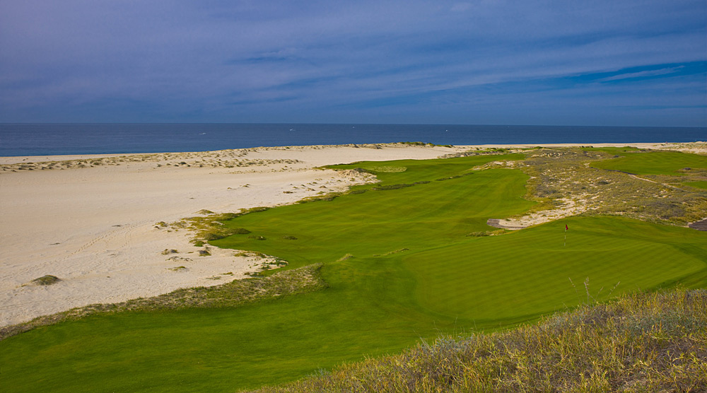 Diamante (Dunes) -- Cabo San Lucas, Mexico -- No. 17: Par 5, 588 yards                       After encountering several unique holes that twist through gigantic sand dunes, you arrive at the 17th. To your immediate right sits a wide, pristine beach and the Pacific Ocean. Straight ahead is a vast ravine that slashes the fairway on the diagonal. Following this first exciting forced carry, you face an option. Go for the green in two and you'll have to fly it over a 50-foot-tall dune. I've never seen another hole anything like this in all of my travels.