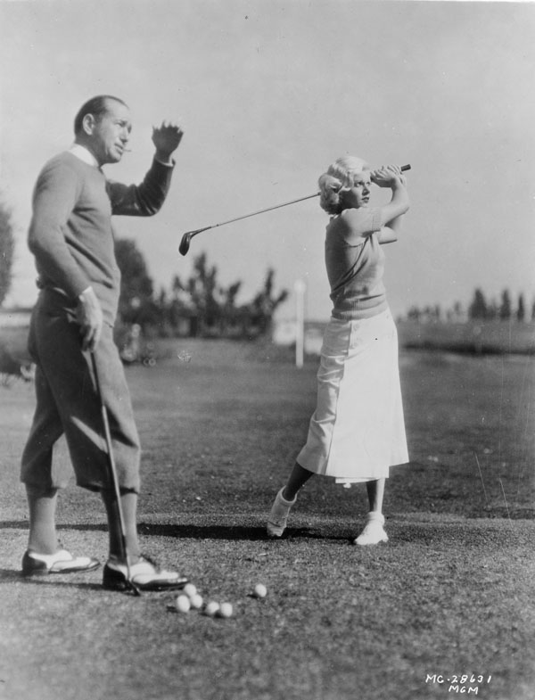 1920s: Not kegeling. Diegeling. That's what opponents call the odd putting stance adopted by Detroit-born golf pro Leo Diegel. Sure looks funny, but he wins two majors with it (the '28 and '29 PGA Championships). Diegel is pictured left giving a lesson to actress Jean Harlow in 1932.