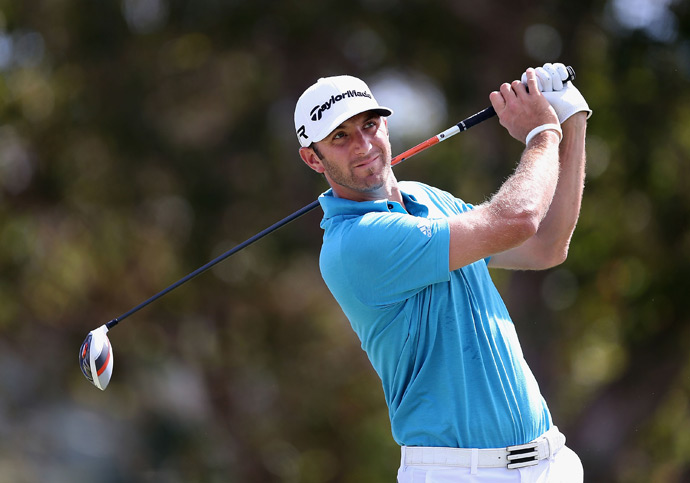 Dustin Johnson, who won last week at Kapalua, withdrew after nine holes Friday due to the flu.