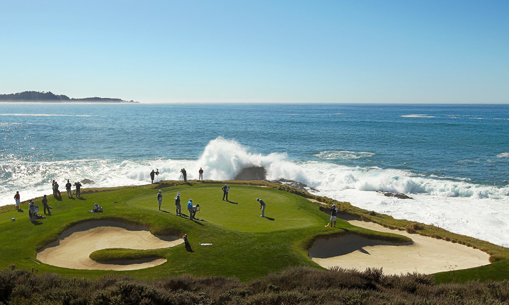 Dustin Johnson, here at the scenic seventh hole at Pebble Beach, had two eagles and two birdies on his first nine holes and finished with a sparkling nine-under 63 to tie for the lead with two others.