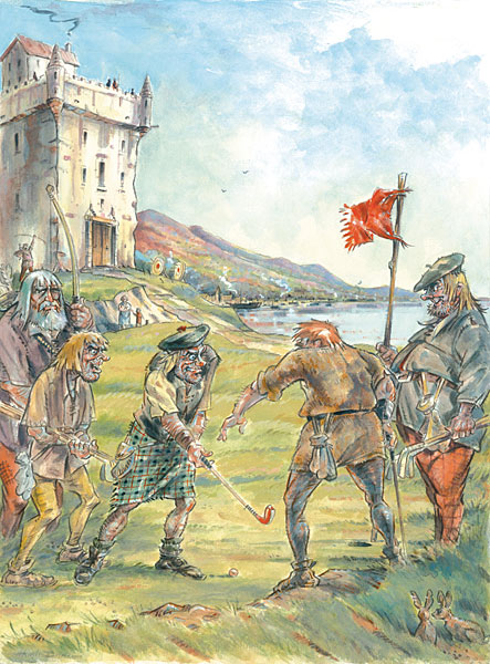 Hugh Dodd (Scottish, born 1948)                           Early Scottish Golf: Preparing for Battle                           2010                           Watercolor and Gouache