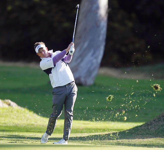Donald's round included two birdies and one bogey on the difficult course at Riviera Country Club.