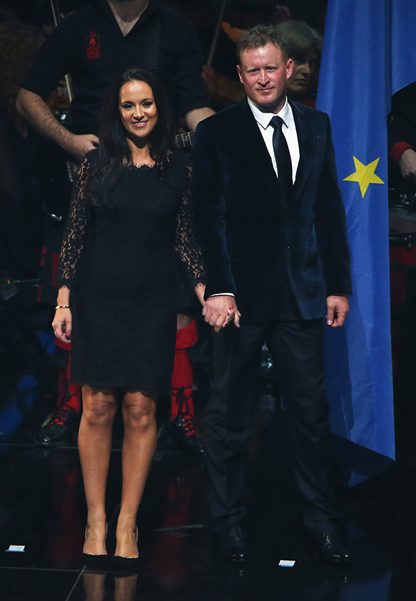 Jamie Donaldson of Europe and partner Kathryn Tagg appear on stage during the 2014 Ryder Cup Gala Concert at the SSE Hydro on Sept. 24, 2014, in Glasgow, Scotland.