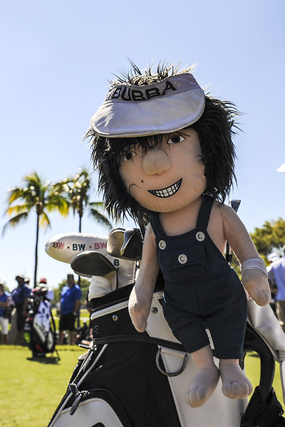 A view of Bubba Watson's club head cover as he tees off on the eighth hole during the third round of the World Golf Championships