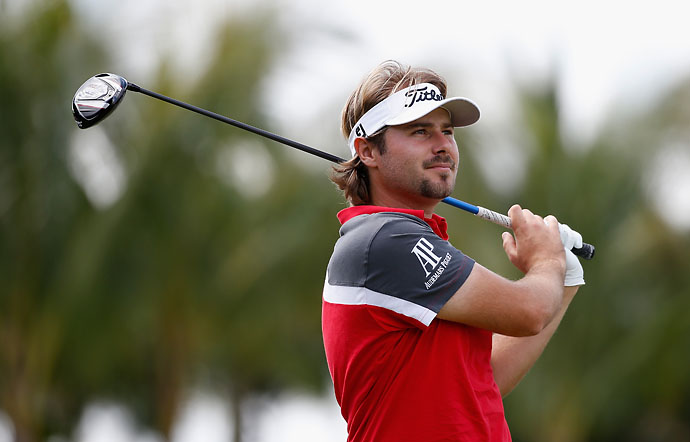 Victor Dubuisson hits his tee shot on the 12th hole during the final round of the World Golf Championships-Cadillac Championship at Trump National Doral on Sunday.