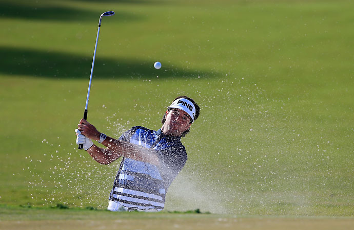 Bubba Watson plays a bunker shot on the 16th hole during the final round of the Cadillac Championship. Watson had another strong tournament, finishing T2.
