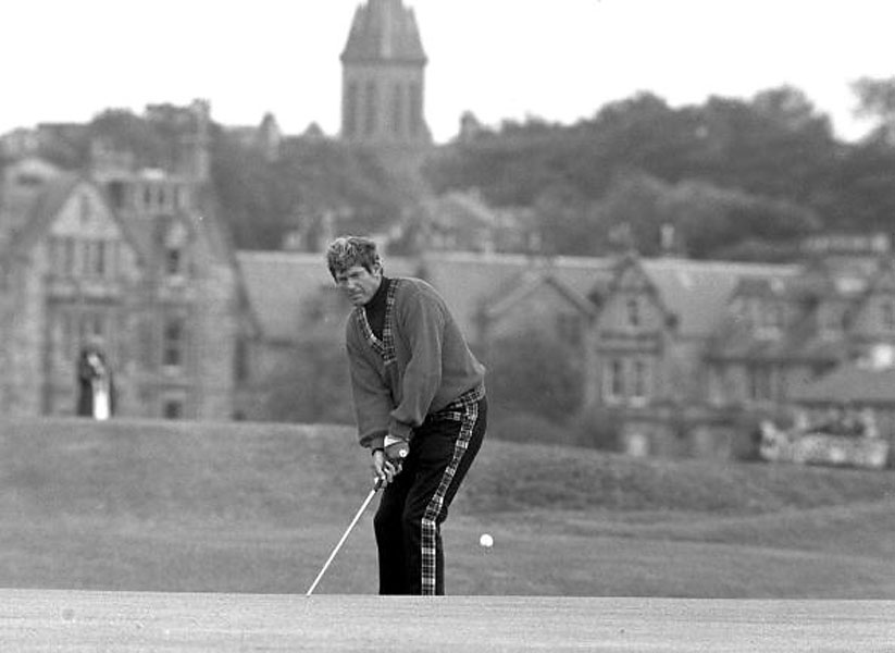 Doug Sanders, one of modern golf's most daring and skilled dressers, plays a shot at St. Andrews in 1970 before his final playoff with Jack Nicklaus, which he lost. Note the tartan trouser stripe, which matches the V-neck detail on his sweater.
