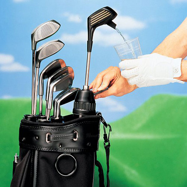 Club Champ Kooler Klub ($40) amazon.com                           Sliding easily into most golf bags, this will look just like a regular club, but the easy pump dispenser located in the 'head' of the mock 3-wood transfers your favorite beverage into a cup on the golf course. Holds 48 oz.