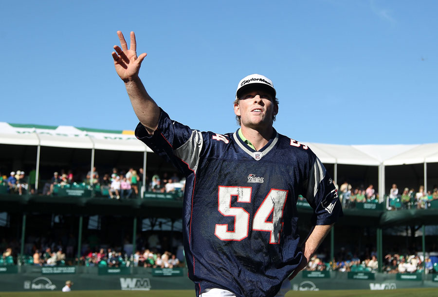 But that Patriots fan wasn't alone. James Driscoll wore his Patriots jersey while playing the 16th hole.