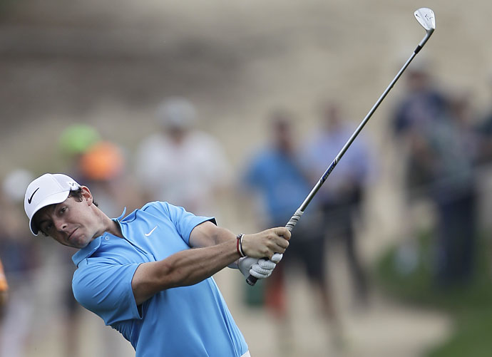 Rory McIlroy plays a ball on the 12th hole during the third round of the Dubai Desert Classic.