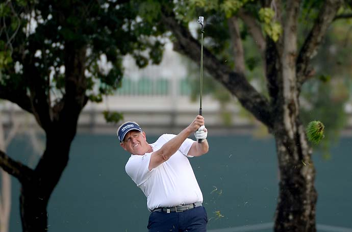 Colin Montgomerie during the first round of the Omega Dubai Desert Classic on the Majlis course at the Emirates Golf Club on January 30, 2014 in Dubai, United Arab Emirates.
