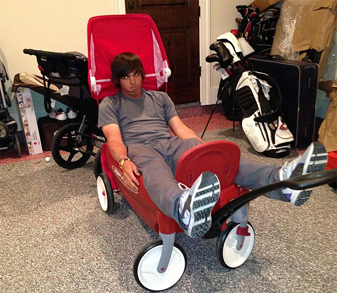 """#Dufnering in the Radio Flyer...ya that's right @Keegan_Bradley"""