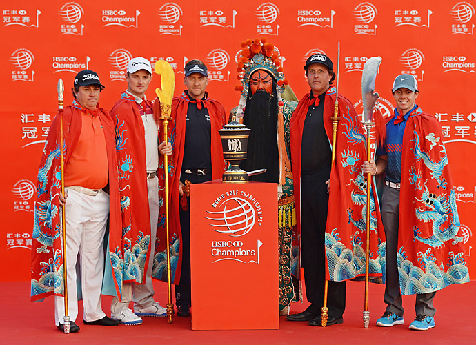 "Jason Dufner, Justin Rose, Phil Mickelson, Rory McIlroy and a ""Chinese warrior"" joined defending champion Ian Poulter for a tournament photo shoot prior to the 2013 WGC-HSBC Champions."