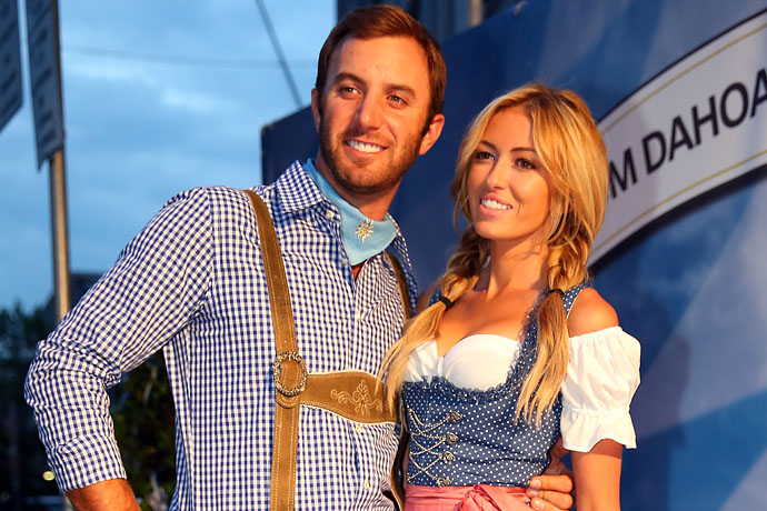 Dustin Johnson and Paulina Gretzky at a party for the 2013 BMW International Open in Munich, Germany.