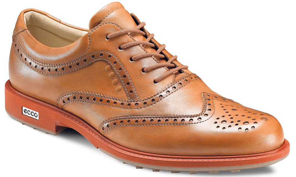 "Ecco Tour Hybrid Wingtip                       $190, eccousa.com                       Combining office-worthy refinement with premium on-course performance, Ecco's Tour Hybrid Wingtip is composed of weather-resistant ""Hydromax"" leathers. Stability is ensured via the Ecco Street outsole, which features 100 molded traction bars that provide more than 800 traction angles to help prevent slips."