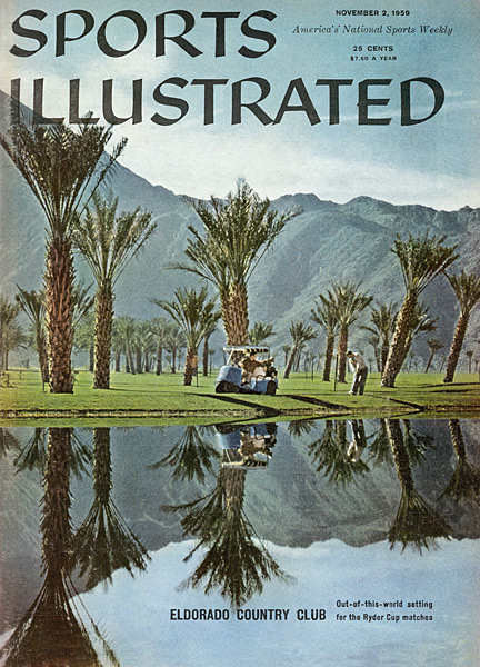 4. Eldorado -- California (1959) Others cast their vote in this spot for Thunderbird, its Palm Springs neighbor that hosted the 1955 matches, but this then-year-old Lawrence Hughes design looked as immature as it played, with its smattering of resort-style palm trees and shallow bunkers. A further quirk involved the course setup, where players practiced from the tips but found the tees moved up to the front of the boxes once play began, presumably to promote dozens of birdies. Alas, the dull encounter saw the U.S. trim Great Britain, 8 1/2 to 3 1/2.
