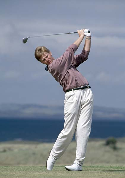 Ernie Els  tees off during the 1992 British Open held at the Muirfield Golf Club in Scotland.