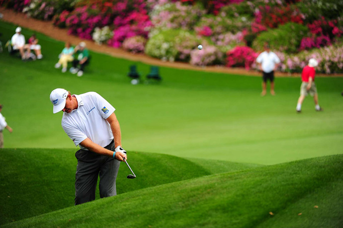 Ernie Els had an up-and-down day until he made an eagle on the par-5 15th. He finished at one under par.