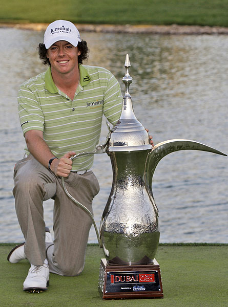 Rory McIlroy got a genie and three wishes along with this trophy for winning the 2009 Dubai Desert Classic.
