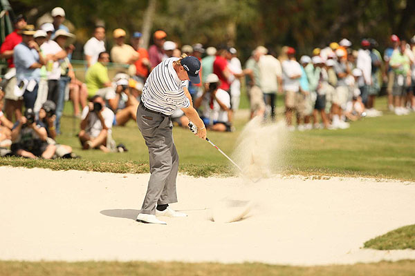 Playing with Woods, Ernie Els shot a final-round 70 to finish at nine under par.