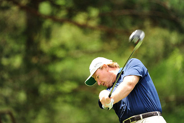 Ernie Els birdied 18 to finish at two under par.