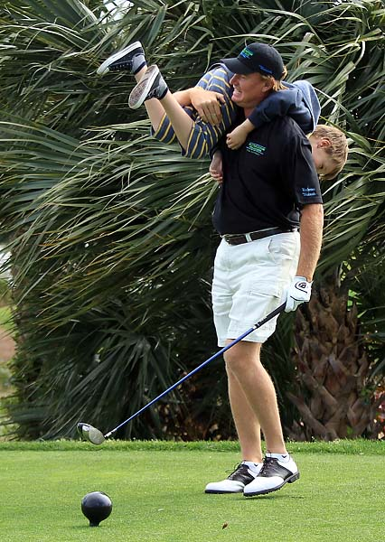 Ernie Els with his son Ben during the Els for Autism Pro-Am on the Champions Course at the PGA National Golf Club on March 15, 2010, in Palm Beach Gardens, Fla.