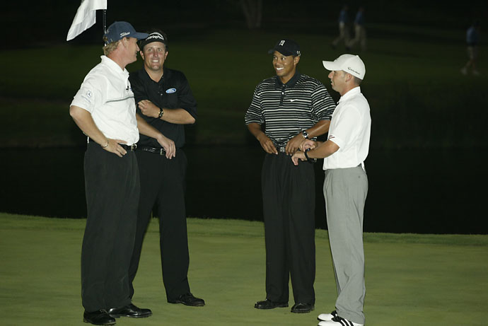 Tiger Woods, Ernie Els, Sergio Garcia and Phil Mickelson at the 2003 Battle of the Bridges at The Bridges in Rancho Santa Fe, Calif.