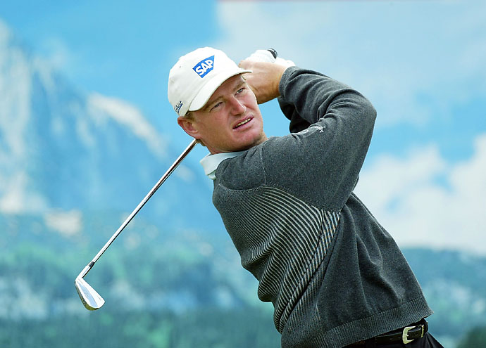 Ernie Els tees off on the sixth hole during the final round at the Deutsche Bank SAP Open at St Leon-Rot Golf Club on May 23, 2004, in Heidelberg, Germany.