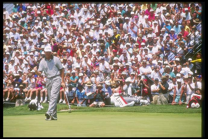 Ernie Els walks down the green during the 1994 U. S. Open at the Oakmont Golf Club in Pennsylvania. Eighteen years separate Els first major win at Oakmont and his most recent major win at Royal Lytham & St. Annes.