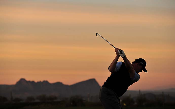 Ernie Els hits a shot during the quarter final round of Accenture Match Play Championships at Ritz - Carlton Golf Club at Dove Mountain on February 28, 2009 in Marana, Ariz.