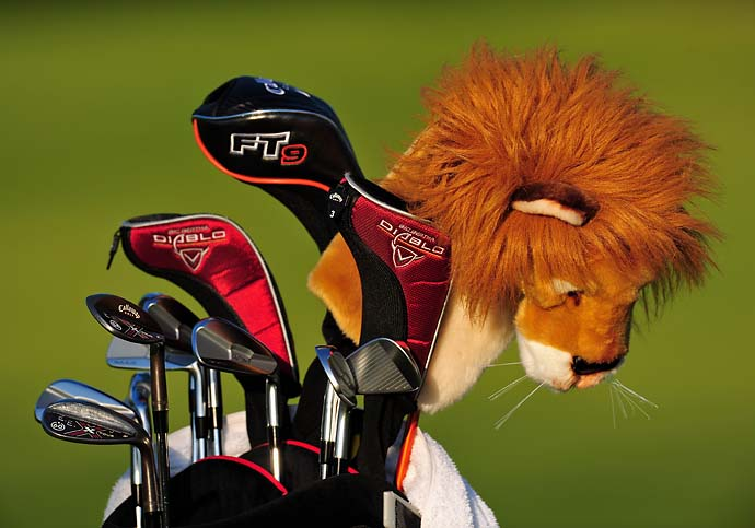 Ernie Els' clubs at Northern Trust Open at the Riviera Country Club February 18, 2009 in Pacific Palisades, Calif. Ernie says his lion headcover is from Africa and more legitimate than John Daly's lion headcover.