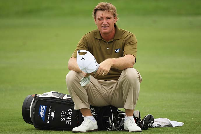 Ernie Els waits to plays his second shot into the second green during the second round of the Alfred Dunhill Championship at Leopard Creek Country Club on December 11, 2008, in Malelane, South Africa.