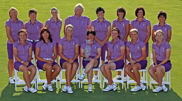 (front row left to right) Gwladys Nocera of France, Sophie Gustafsson of Sweden, Anna Nordqvist of Sweden, Alison Nicholas of England (European Team Captain), Helen Alfredsson of Sweden, Suzann Pettersen of Norway, Janice Moodie of Scotland, (back row left to right) Liselotte Neumann of Sweden (Assistant Captain), Catriona Matthew of Scotland, Diana Luna of Italy, Laura Davies of England, Becky Brewerton of Wales, Tania Elosegui of Spain, Maria Hjorth of Sweden, Joanne Morley of England (Assistant Captain)