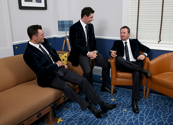 L-R: Martin Kaymer, Rory McIlroy and Graeme McDowell of Europe pose for a photograph at the Gleneagles Hotel before leaving for the Ryder Cup Team Gala Dinner.