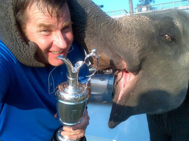 @The_Open: #ICYMI Brilliant selfie from #TheOpen and #BMWPGA champ @NickFaldo006 with the Claret Jug…and a baby elephant.