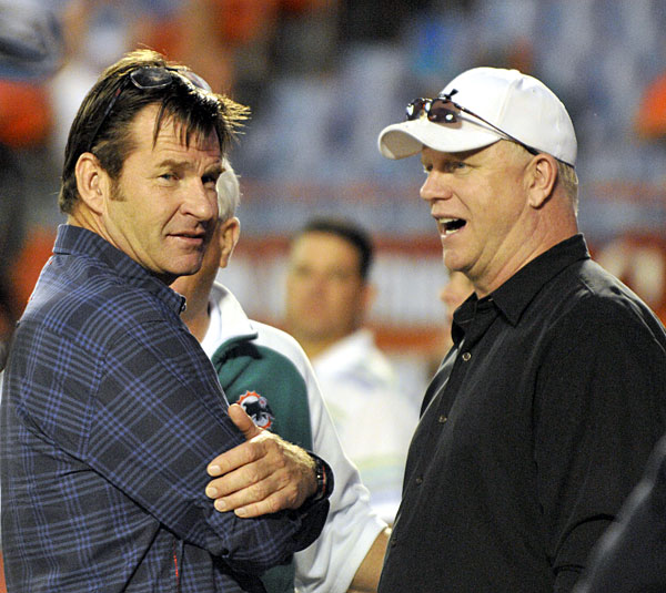 Sir Nick Faldo watched the Patriots crush the Dolphins with Boomer Esiason in 2010.