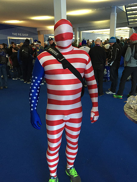 This attire leaves nothing to the imagination. He's rooting for USA.