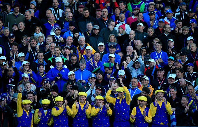 "This raucous group, named ""The Keepers of the Cup,"" arrives at the first tee grandstands at 3 a.m. to secure their spot and serenade each European player as they enter the tee box."