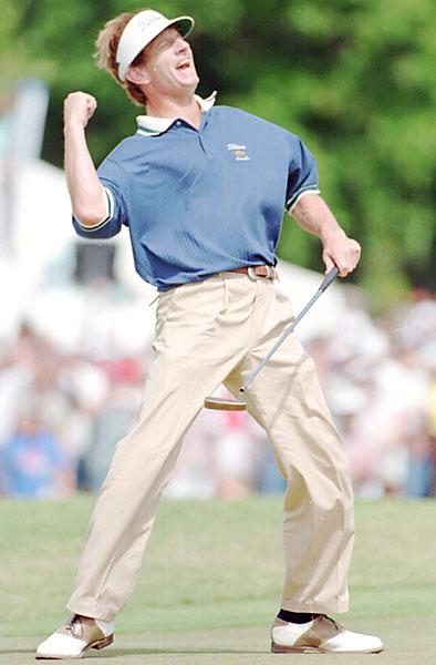 No. 5: Brad Faxon                             Playing Career: 1983-                             True, Brad Faxon doesn't show much bark off the tee, but his putting game packs some serious bite. For proof, look no further than 2000, when Faxon averaged 1.704 putts per greens in regulation, the best putting season ever recorded.