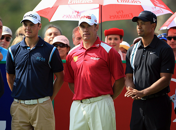 From left: Kaymer, Westwood and Woods, the top three players in the world, are paired together for the first two rounds.
