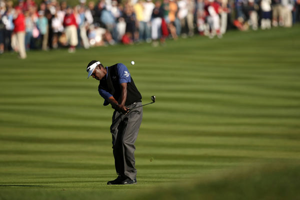 Singh hit a wedge shot to a foot on 18 to force a playoff.