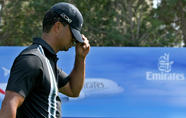 Before his eagle on 18, Woods struggled for most of the day, making four birdies, three bogeys and a double bogey.
