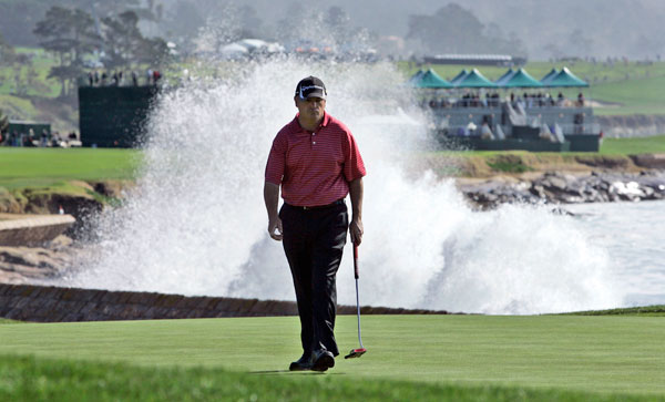 matched Johnson's 64 at Pebble Beach for a share of the lead.