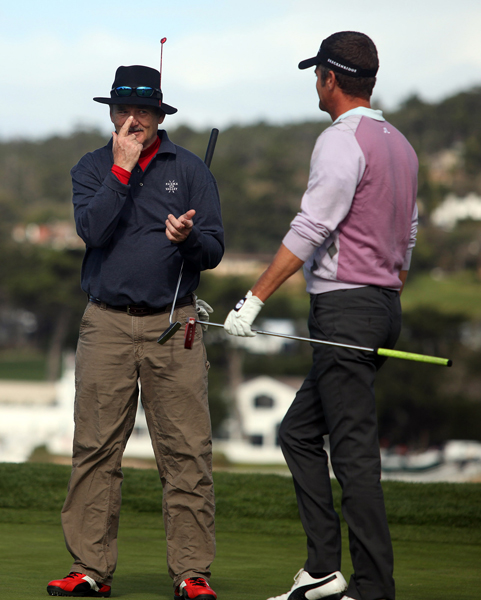 Actor Bill Murray, left, joked with Jesper Parnevik at Pebble Beach.