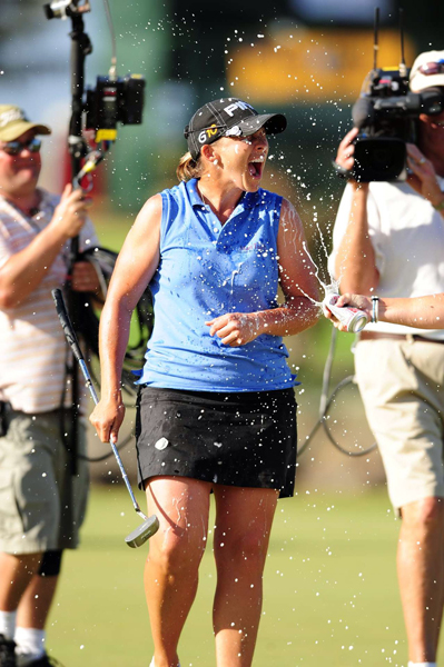 Stanford took advantage of Wie's mistake with birdies on Nos. 13, 14 and 15 to win her fourth LPGA event.