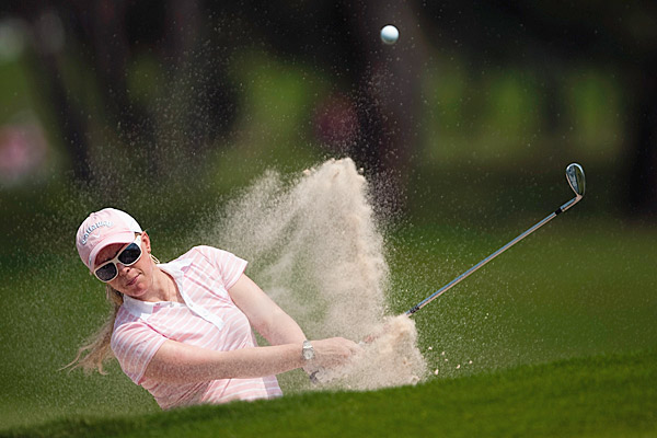 Morgan Pressel struggled in the second round, going three over for the day.