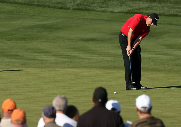 Round 2 of the FBR Open                                              Phil Mickelson made a double bogey on 9, but he rallied with birdies on 13 and 14 before his round was suspended due to darkness.
