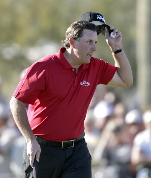 Mickelson won the 16th hole to go 1 up and eventually win the match.