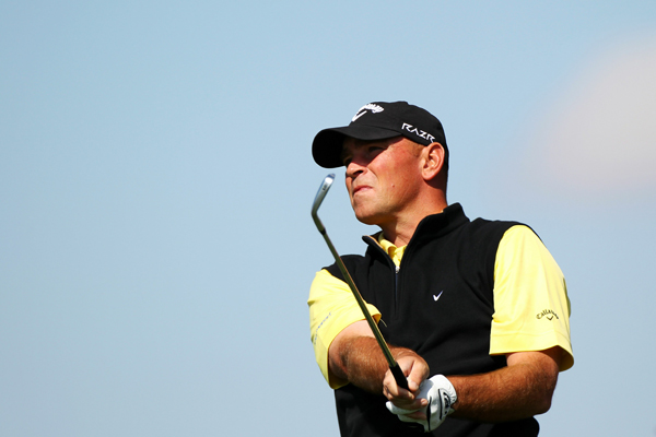 Thomas Bjorn beat Tiger Woods on Wednesday, but Bjorn lost to Geoff Ogilvy on Thursday.